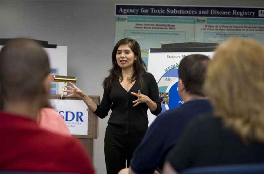 A faculty member provides training on toxic substances.