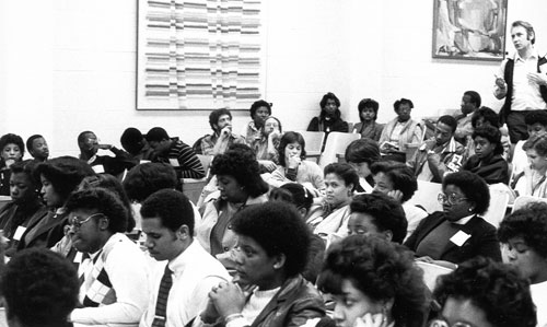 Students at an early Minority Student Caucus meeting