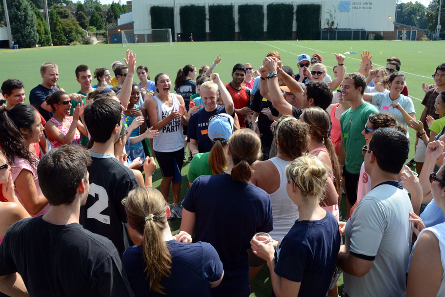 The annual Gillings Games is an Olympic-style field day with a series of relay and team events. This year's event started with a massive paper-rock-scissors match.