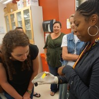 Trainee Samira Brooks explains her research to high school teachers