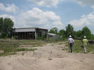 Officials perform a site visit at the Horton Iron & Metal Co. site.