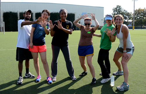 """""""Team #10"""" takes a break to pose in last year's Gillings Games."""