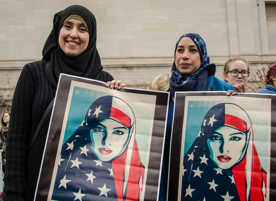 Women protest.