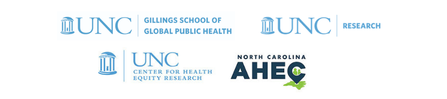 Sponsors for the 26th NHERW: The Gillings School of GLobal Public Health, UNC Research, UNC Center for Health Equity Research, and NC AHEC