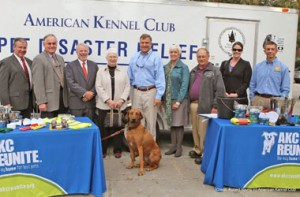 Bill Gentry (center, blue shirt) poses with representatives from the AKC and NC SART.