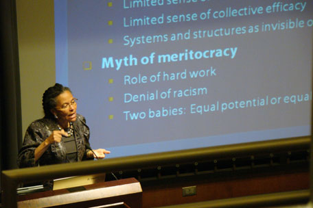Camara Phyllis Jones, MD, PhD, MPH, speaks at the 2012 event.