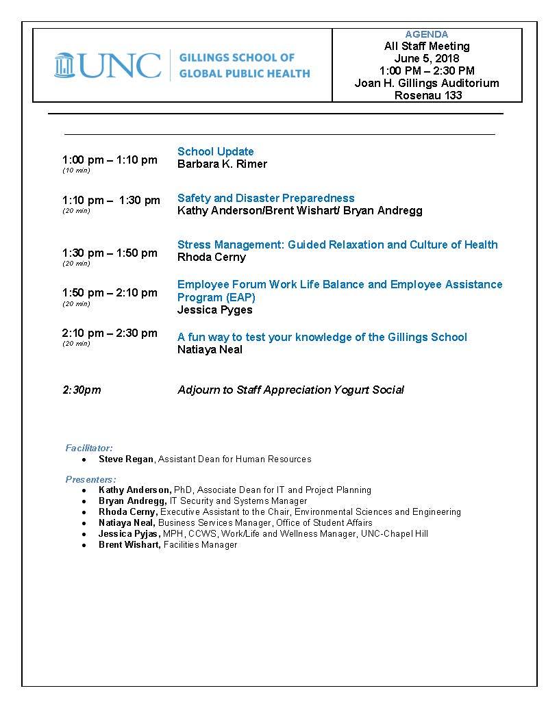 All Staff Meeting Agenda