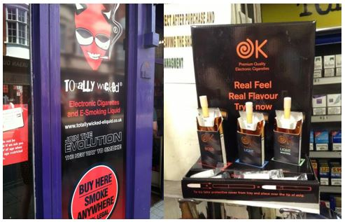 Point-of-sale display in London store that invites customers to sample e-cigarettes. Photos by Kurt Ribisl