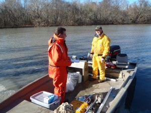 Sampling in the Dan river.