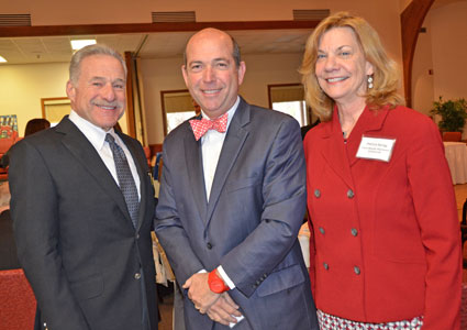 Drs. Mike Kafrissen and Joseph Coughlin, of the MIT AgeLab, pose with Patricia Sprigg, president of Carol Woods Retirement Community in Chapel Hill. The three were among the co-sponsors of the inaugural aging summit at the Gillings School.
