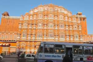 Wind Palace in Jaipur City. This Palace has 365 windows for the 365 days in the year. Royal women used to peer through the windows to watch street festivals safely from inside the walls of the palace. Photo by Ariana Katz
