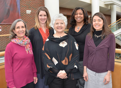 CGBI staff members include (l-r) Kathleen Anderson, Catherine Sullivan, Dr. Miriam Labbok, Thea Calhoun-Smith and Kathy Perry.