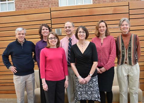 Teaching Innovation Award winners were (l-r) Dr. Karl Umble, Lori Evarts, Amanda Holliday, Dr. Lew Margollis, Dr. Beth Moracco, Dr. Rebecca Fry and Kathy Roggenkamp. Not pictured: Dr. Steve Cole.