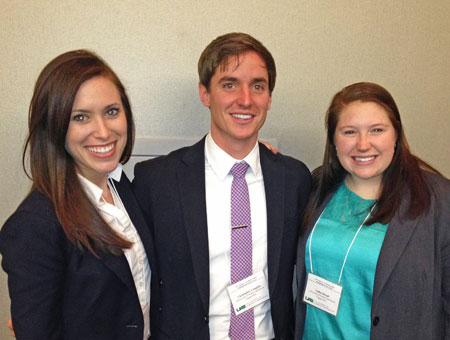 Left to right are HPM case competition team members Jennifer Moore, Christopher Coughlin and Callan Blough.