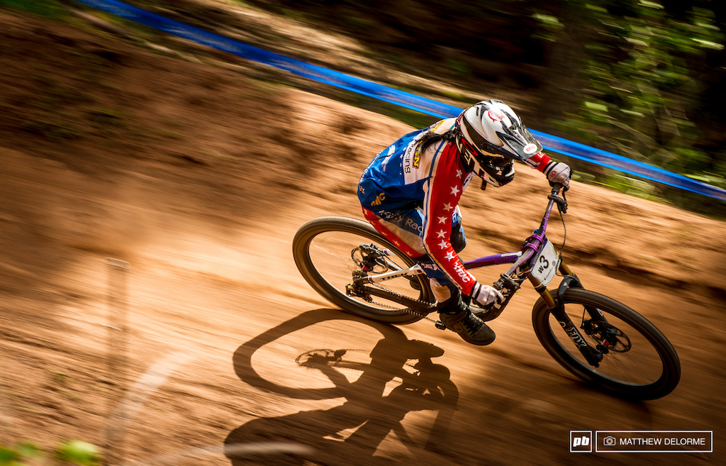 Anne Galyean, doctoral candidate, on the pro mountain biking race circuit, 2013. (Photo courtesy of Matthew Delorme)