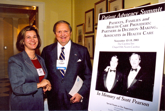 Clarence Pearson and his wife Laurie Norris (left) attended a 2003 Patient Advocacy Summit at the Carolina Inn. Hosted by the UNC School of Public Health, the summit was made possible by seed funding from Pearson and Norris.