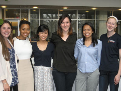 April Peterson (second from left) is pictured with other 2014 winners of the travel fellowship.