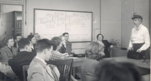 Eleanor Roosevelt guest speaks to a class in 1950.
