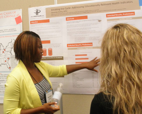 Amanda Holley, a fellow in the 2013-2014 National Maternal and Child Health Public Health Leadership Institute, directed by Dr. Claudia Fernandez, discusses her findings on a leadership project with other cohort fellows.