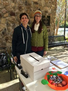 Mary Kate Shapley-Quinn and Julia Katz recruit early voters to complete surveys at the Seymour Center as part of their capstone project with the Orange County Department on Aging