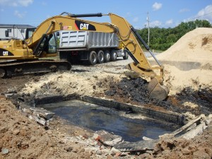 Soil contaminated with PAHs is extracted from the site of a former manufactured gas plant in High Point, NC. Photo courtesy NC DENR.