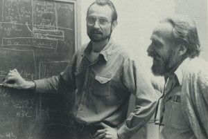 A photo from the 1970s shows epidemiology professors Gerardo Heiss and the late H.A. Tyroler discussing a research problem.