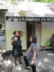 Dr. Suzanne Maman, who leads a research project in Tanzania, discusses the logistics of data collection with Lusajo Kajula at a field office in Dar es Salaam.