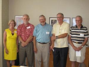 Dr. Michael Kosorok (far left) posed recently with former CSCC directors (l-r) Drs. Lisa LaVange, Lloyd Chambless, Ed Davis, Dale Williams and Jim Grizzle.