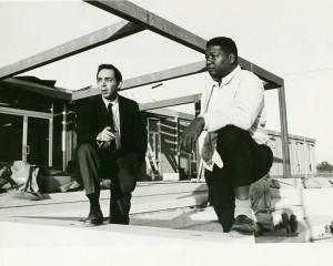 Dr. Jack Geiger (left) and John Hatch oversee construction at the Delta Health Center in Mound Bayou, Miss.