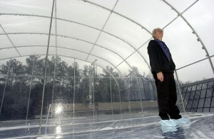 ESE professor Rich Kamens is shown in the the smog chamber experiment site in Chatham County. Kamens uses the chambers to study particulate matter in smog.
