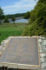 Today, Cane Creek Reservoir is both a pristine source of drinking water and a welltrafficked recreational area. A plaque commemorates Dr. Dan Okun's contributions to planning and developing the reservoir.