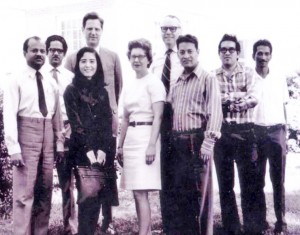 Dr. Suchindran (far right) poses with other international students in 1970. Dr. Bernard Greenberg (fourth from left) was biostatistics chair at the time.
