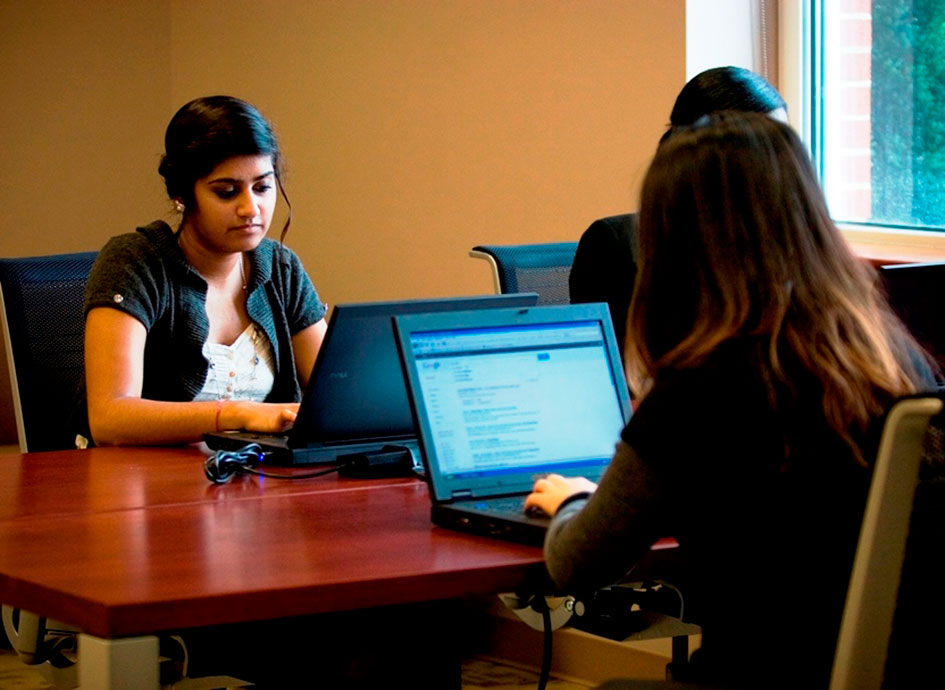 Students study in a quiet space.