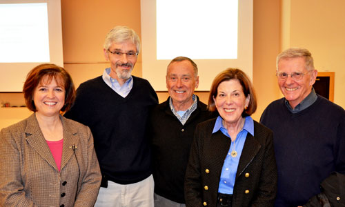 Dr. Katherine Banks (far left),  winner of the 2014 ESE Distinguished Alumna Award, poses with ESE chair Dr. Mike Aitken, emeritus professor Dr. Francis DiGiano, Dean Barbara K. Rimer and emeritus professor Dr. Donald Lauria just prior to Dr. Bank's lecture.