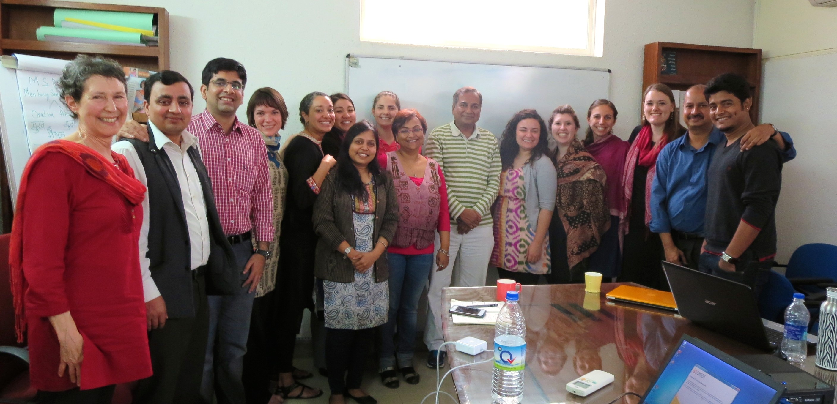 Drs. Anita Farel (far left) and Rohit Ramaswamy (second from right) taught a unique interdisciplinary course in spring 2014-a Gillings Global Implementation Lab that solved health problems in N.C. and India.