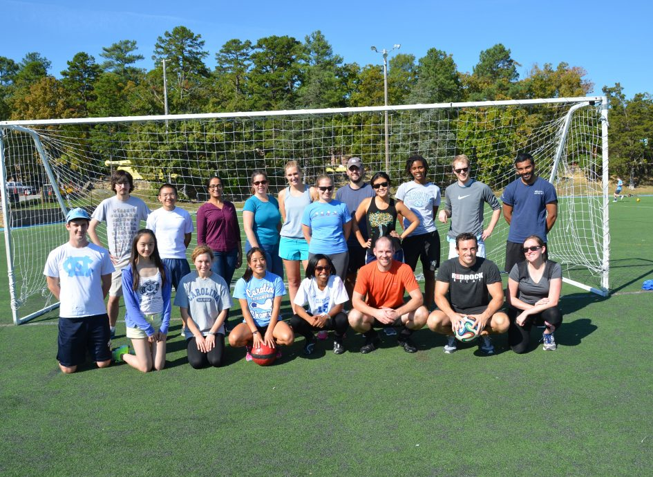 Students pictured on a soccer field after the annual Gillings Games.