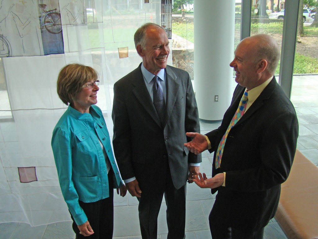 Jennifer and Don Holzworth (left and center) talk with Dr. Jamie Bartram (right), director of The Water Institute at UNC and the Don and Jennifer Holzworth Professor of environmental sciences and engineering at the Gillings School.