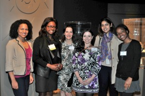 Roslyn Jonson (second from left), president of the D.C.-area chapter of the School's Alumni Association, gathered with friends at the D.C. event.