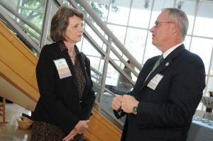 Interim health policy and management chair Dr. Sandra Greene (l) chatted with Michael Tarwater, chief executive officer of Carolinas HealthCare, in Charlotte, N.C.