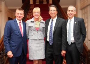 Left to right are Drs. Dennis and Mireille Gillings, Gov. McCrory and Tom Pike, chief executive officer of Quintiles. (Photo by Capellino Imaging)