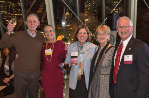 Retired biostatistics professor Dr. Larry Kupper, Joan Gillings, Dean Barbara K. Rimer, and Joy and Chett Douglass (l-r) celebrated at the Boston alumni event.