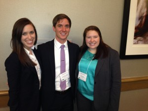 Jennifer Moore, Christopher Coughlin and Callan Blough (l-r) took first prize at the University of Alabama at Birmingham case competition this year, an event at which our HPM students are usually finalists.