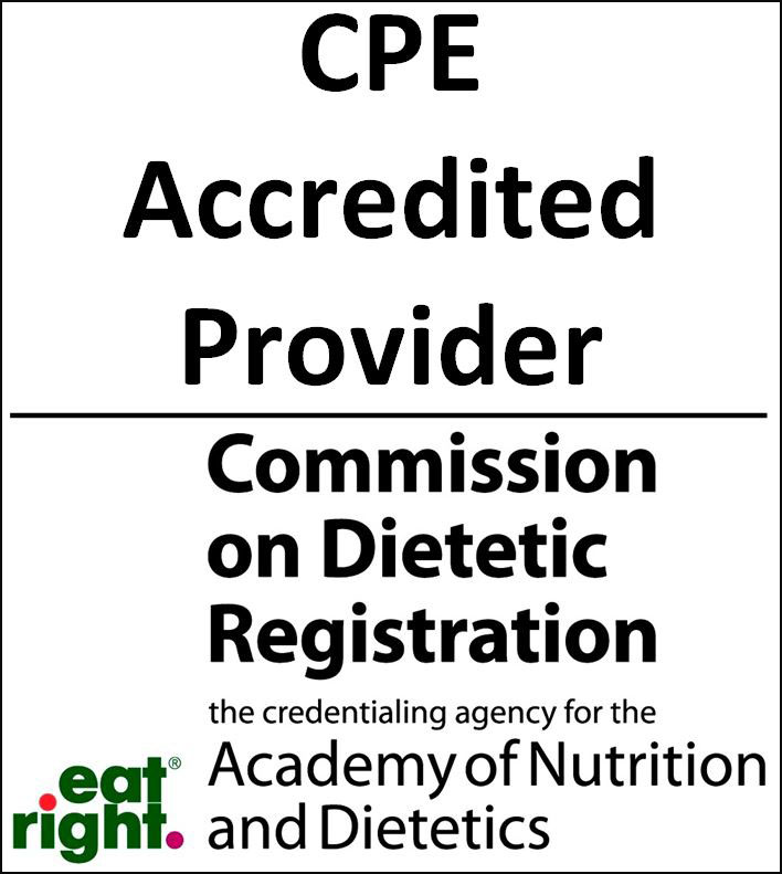 The Commission on Dietetic Registration CPE Accredited Provider logo.