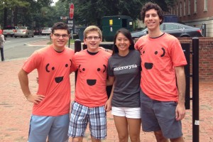 Liz Chen (in black) with UNC seniors (l-r) Joey Weissburg, TJ Tkacik and John Haskell. (Contributed photo)