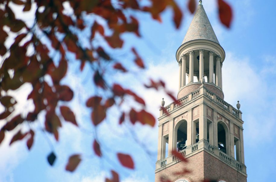The autumn sun shines on the bell tower.