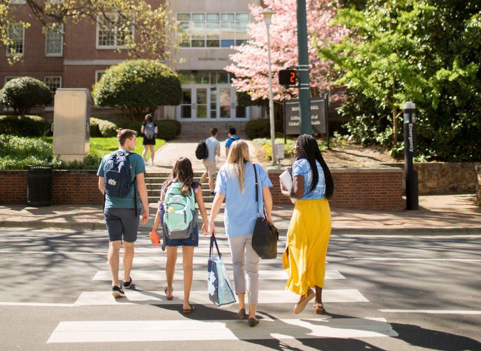 Students cross the street.