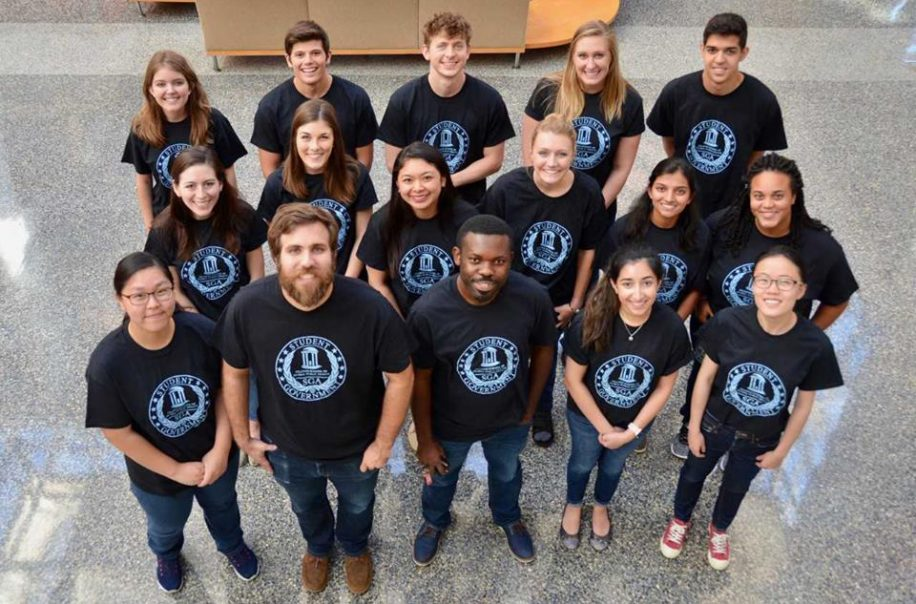 The Gillings School Student Government Association poses for a photo in the Atrium.