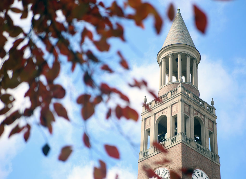 Pictured is the UNC belltower