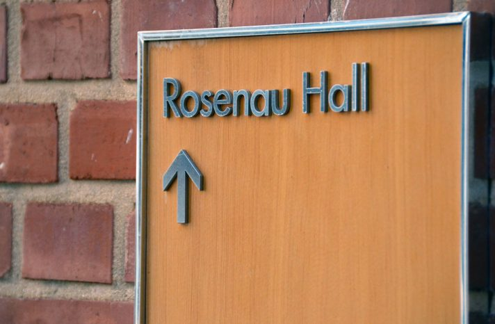 A sign points the way to Rosenau Hall.