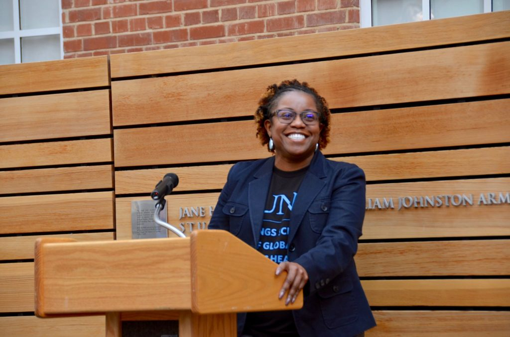 Kauline Cipriani, PhD, speaks at the Gillings School's Diversity Preview Day.